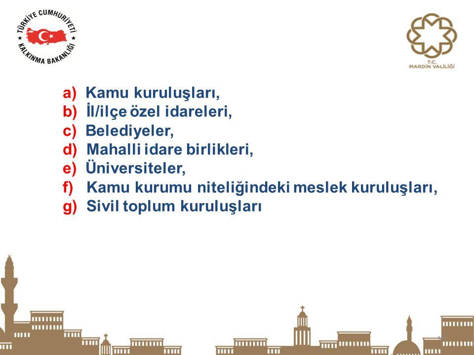 a) Kamu kuruluşları, b) İl/ilçe özel idareleri, c) Belediyeler, d) Mahalli idare birlikleri, e) Üniversiteler,