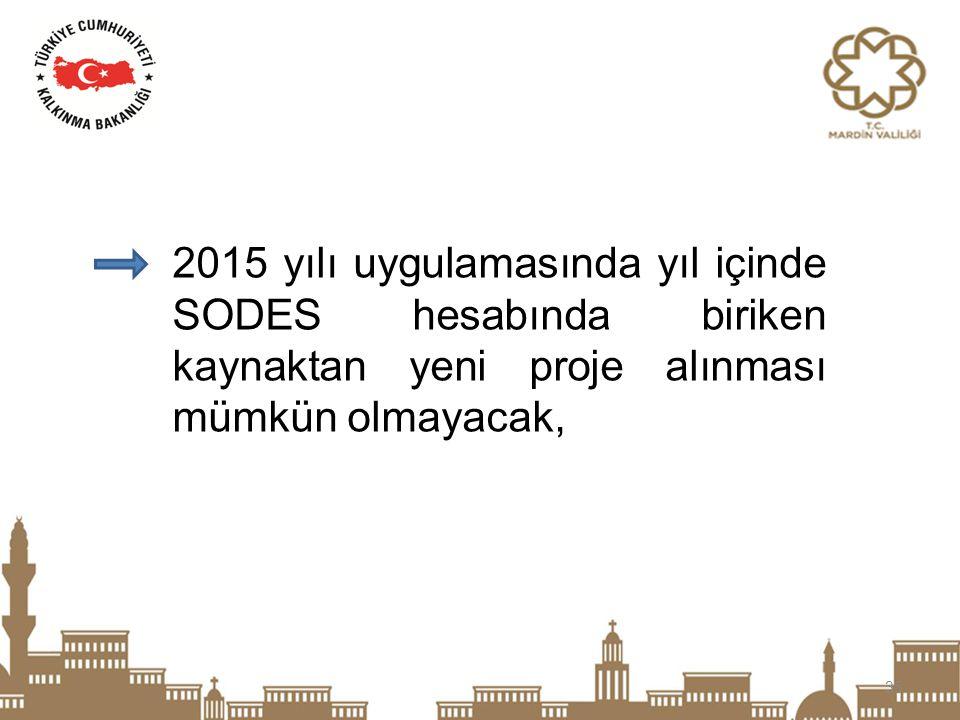 2015 yılı uygulamasında yıl içinde SODES hesabında biriken kaynaktan yeni proje alınması mümkün olmayacak,