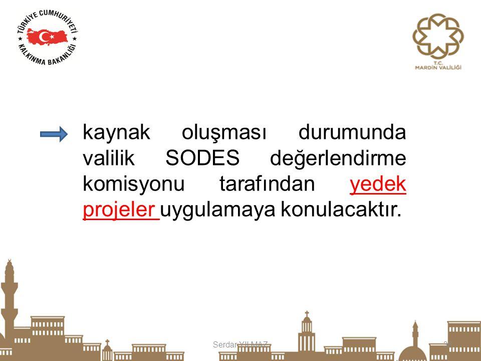 kaynak oluşması durumunda valilik SODES değerlendirme komisyonu tarafından yedek projeler uygulamaya konulacaktır.