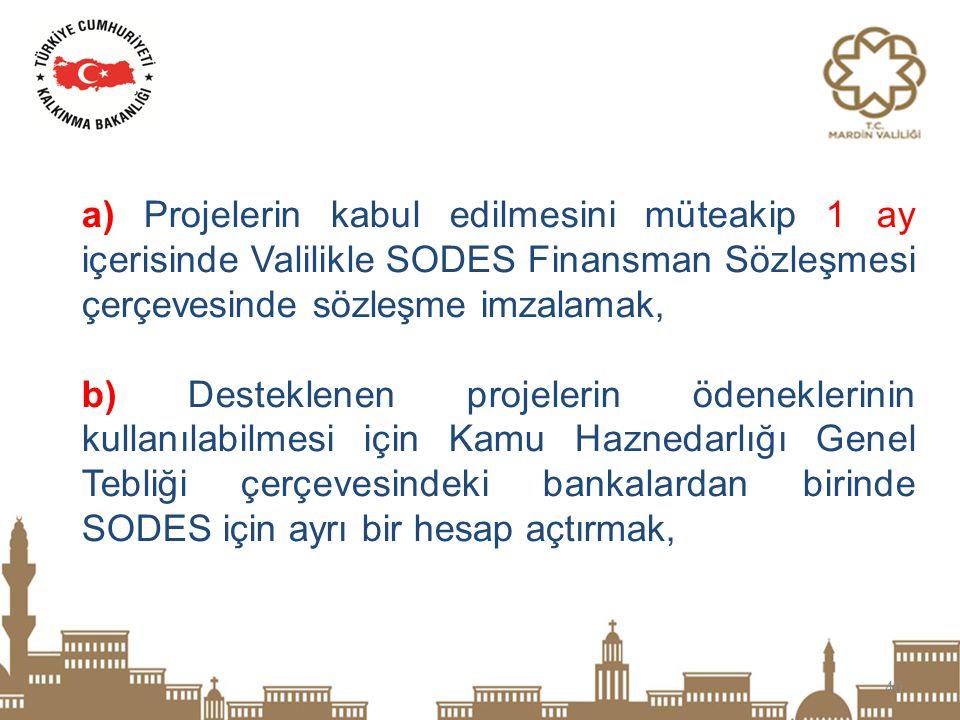a) Projelerin kabul edilmesini müteakip 1 ay içerisinde Valilikle SODES Finansman Sözleşmesi çerçevesinde sözleşme imzalamak,