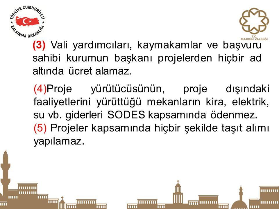 (3) Vali yardımcıları, kaymakamlar ve başvuru sahibi kurumun başkanı projelerden hiçbir ad altında ücret alamaz.