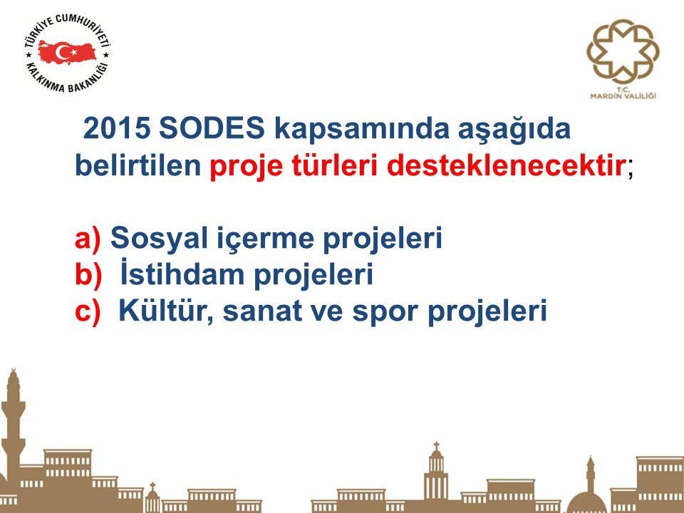 2015 SODES kapsamında aşağıda belirtilen proje türleri desteklenecektir;