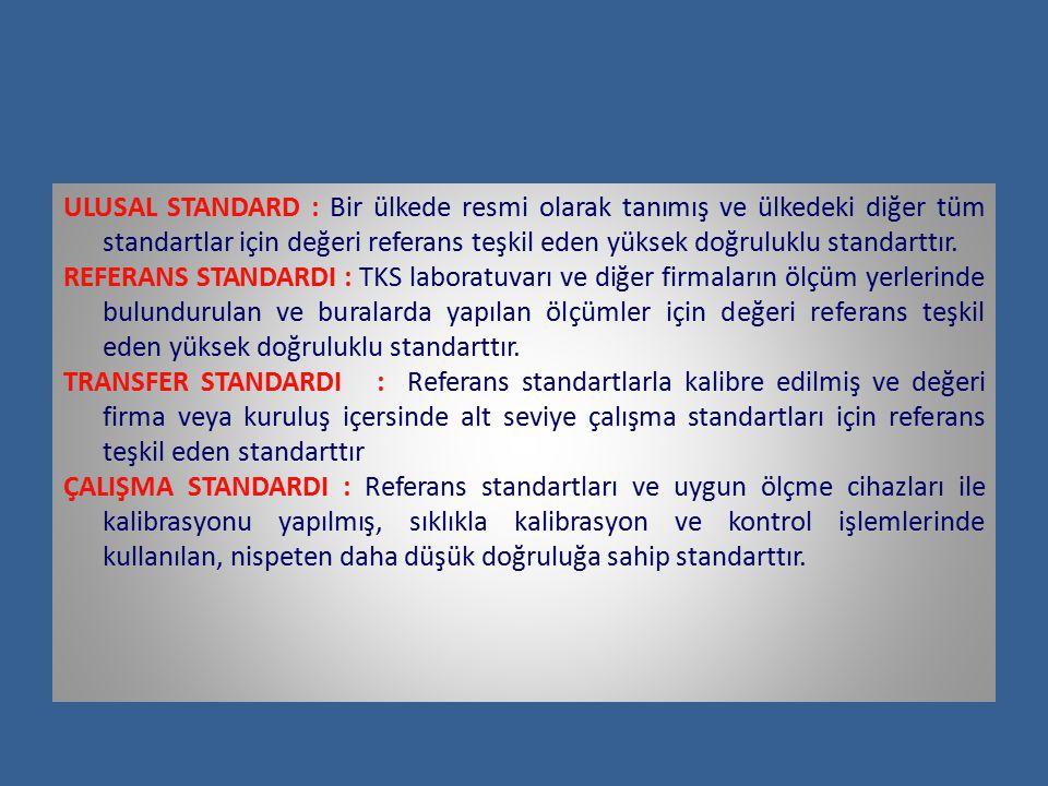 ULUSAL STANDARD : Bir ülkede resmi olarak tanımış ve ülkedeki diğer tüm standartlar için değeri referans teşkil eden yüksek doğruluklu standarttır.