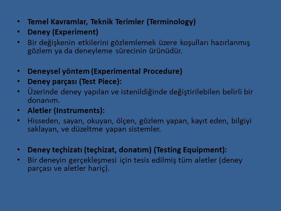 Temel Kavramlar, Teknik Terimler (Terminology)