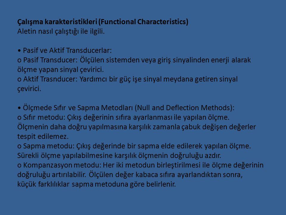 Çalışma karakteristikleri (Functional Characteristics) Aletin nasıl çalıştığı ile ilgili.
