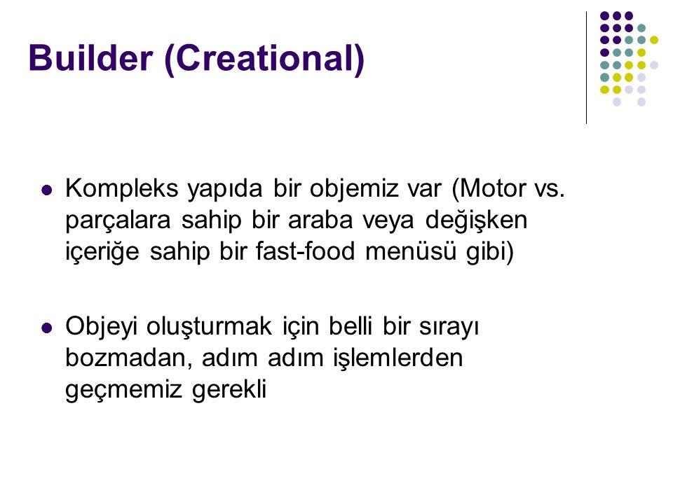 Builder (Creational) Kompleks yapıda bir objemiz var (Motor vs. parçalara sahip bir araba veya değişken içeriğe sahip bir fast-food menüsü gibi)
