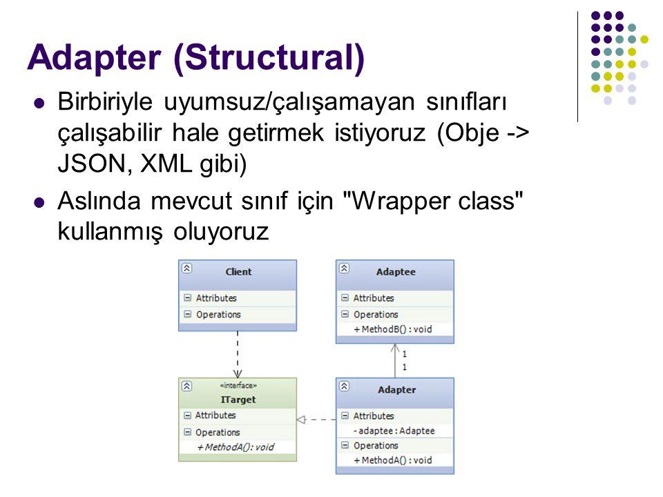 Adapter (Structural) Birbiriyle uyumsuz/çalışamayan sınıfları çalışabilir hale getirmek istiyoruz (Obje -> JSON, XML gibi)