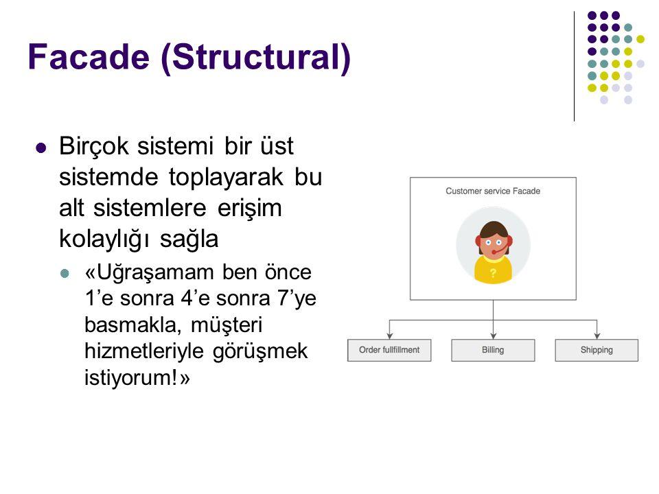 Facade (Structural) Birçok sistemi bir üst sistemde toplayarak bu alt sistemlere erişim kolaylığı sağla.