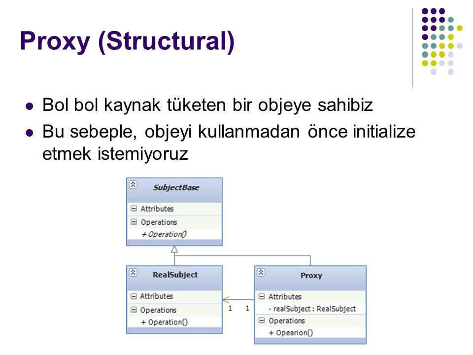 Proxy (Structural) Bol bol kaynak tüketen bir objeye sahibiz