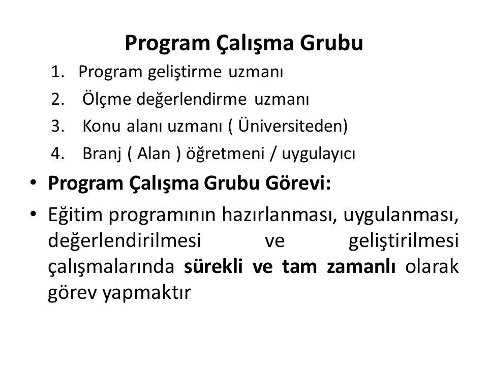 Program Çalışma Grubu Program Çalışma Grubu Görevi: