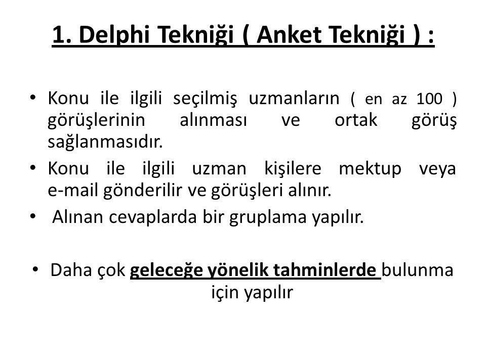 1. Delphi Tekniği ( Anket Tekniği ) :