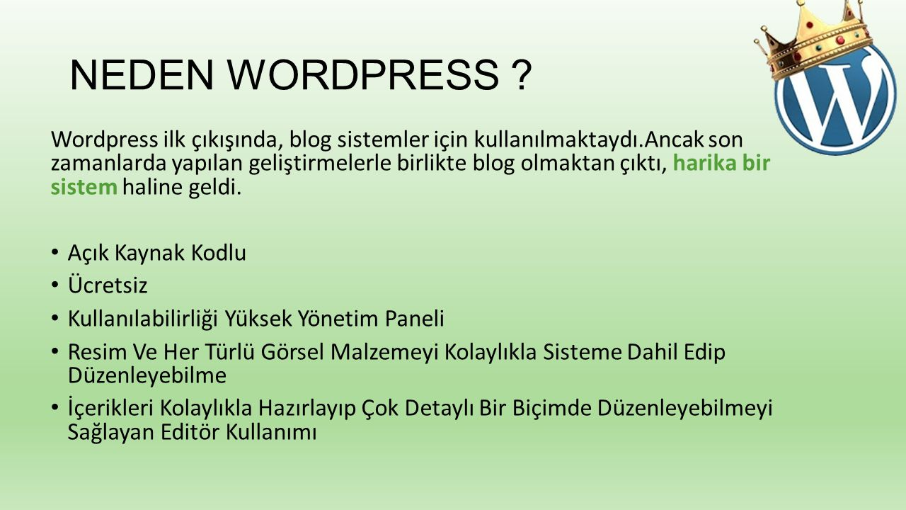NEDEN WORDPRESS