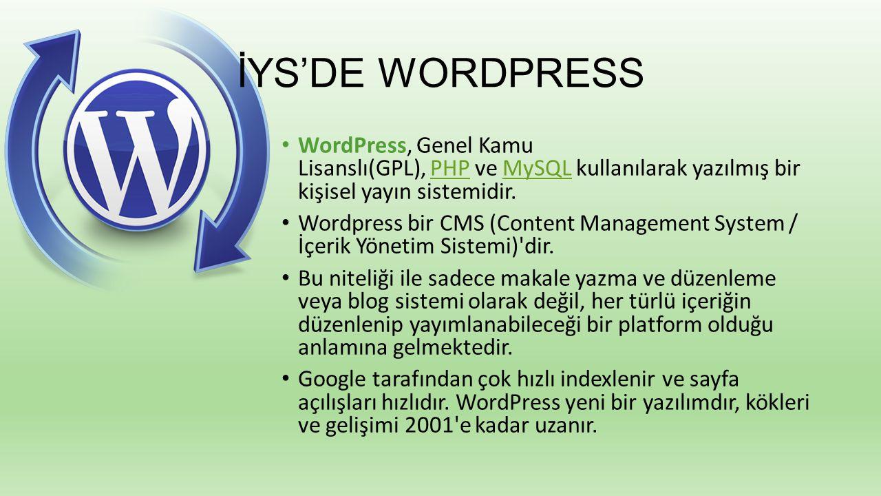 İYS'DE WORDPRESS WordPress, Genel Kamu Lisanslı(GPL), PHP ve MySQL kullanılarak yazılmış bir kişisel yayın sistemidir.