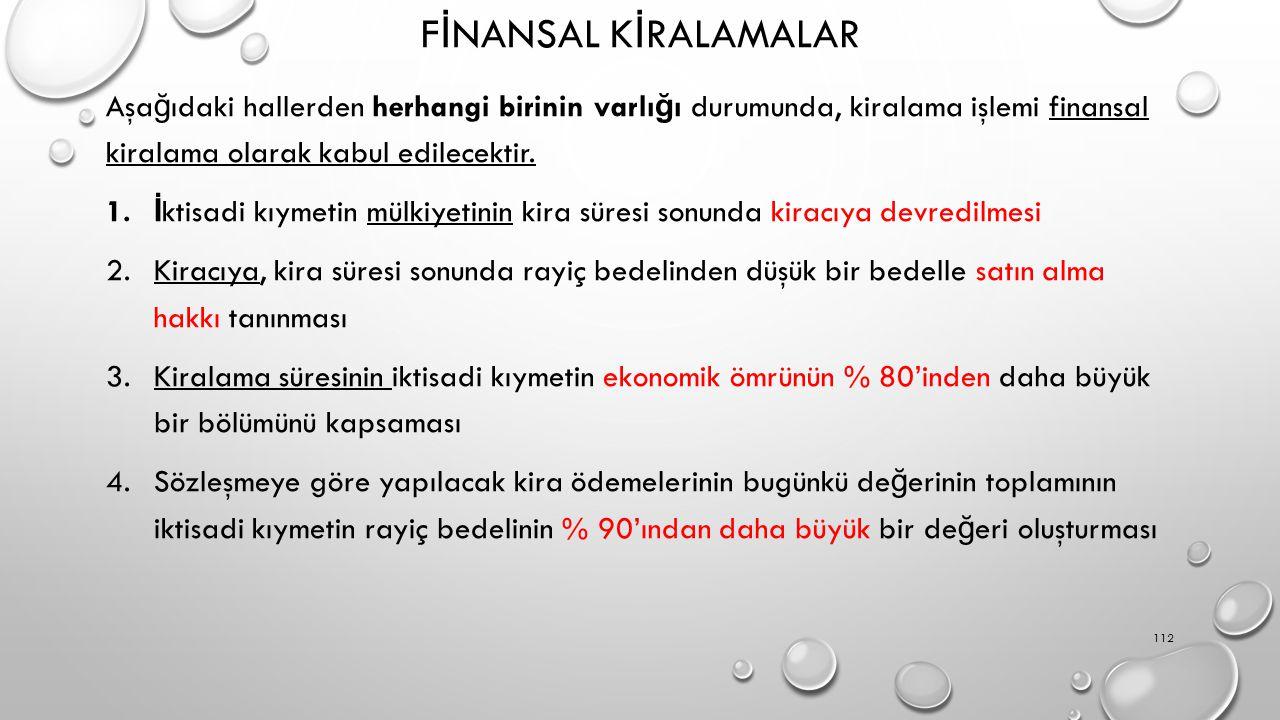 FİNANSAL KİRALAMALAR Aşağıdaki hallerden herhangi birinin varlığı durumunda, kiralama işlemi finansal kiralama olarak kabul edilecektir.
