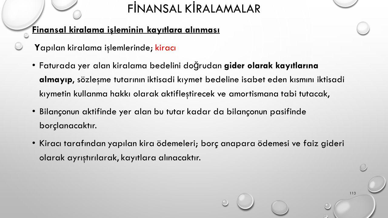 FİNANSAL KİRALAMALAR Finansal kiralama işleminin kayıtlara alınması