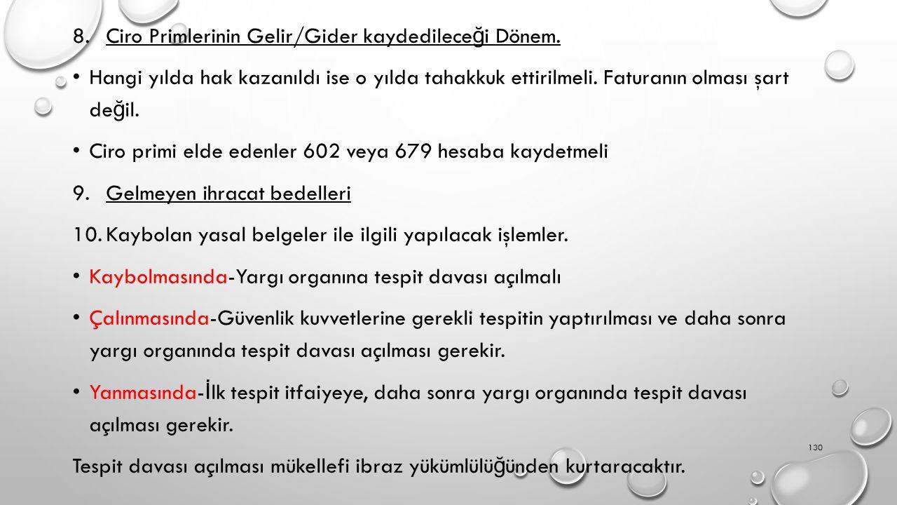 ÖZELLİKLİ KONULAR Ciro Primlerinin Gelir/Gider kaydedileceği Dönem.