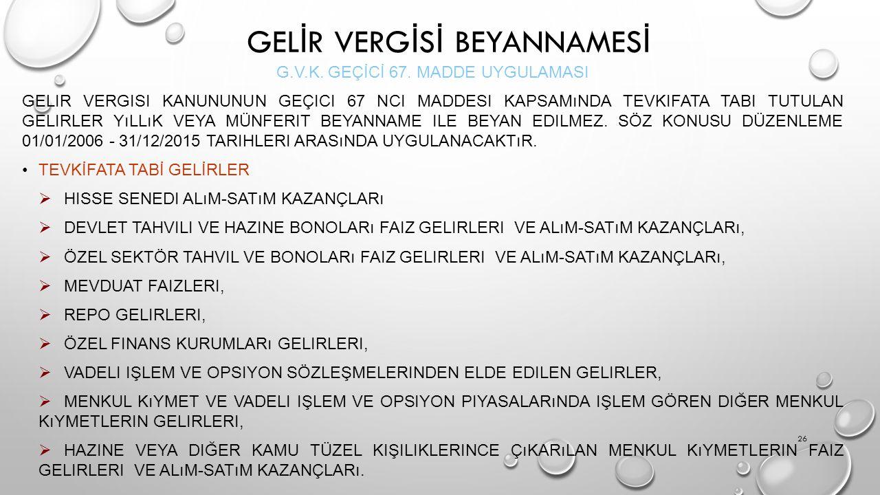 GELİR VERGİSİ BEYANNAMESİ