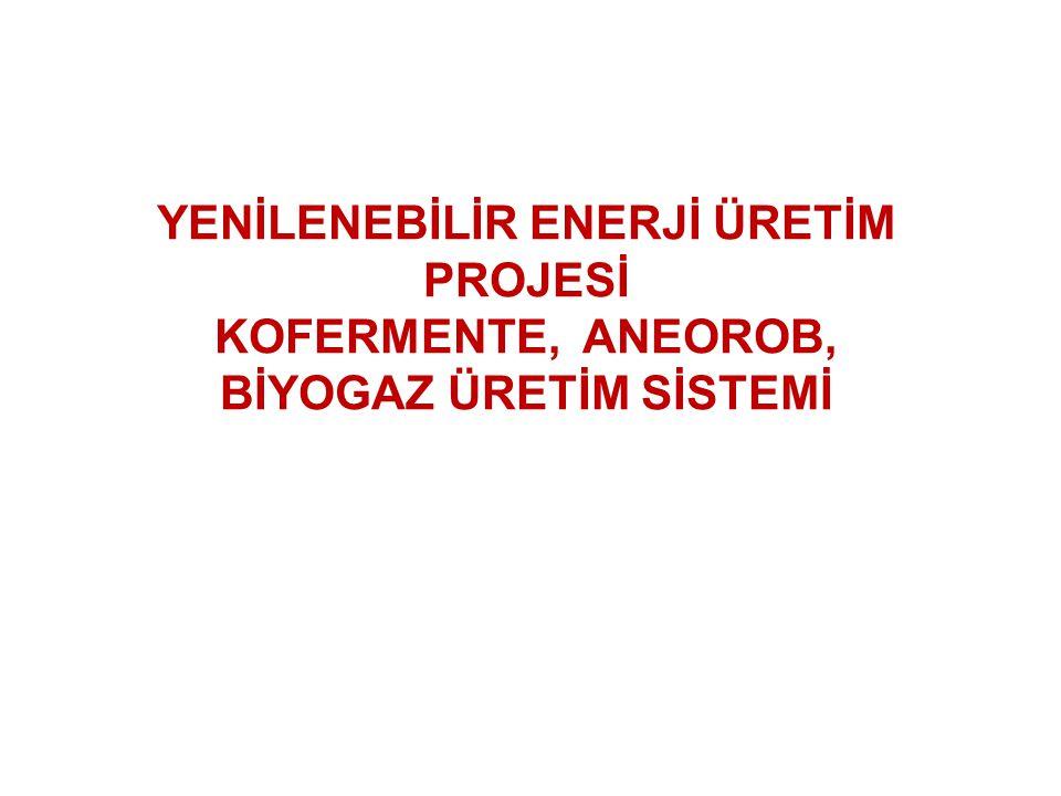 YENİLENEBİLİR ENERJİ ÜRETİM PROJESİ KOFERMENTE, ANEOROB, BİYOGAZ ÜRETİM SİSTEMİ