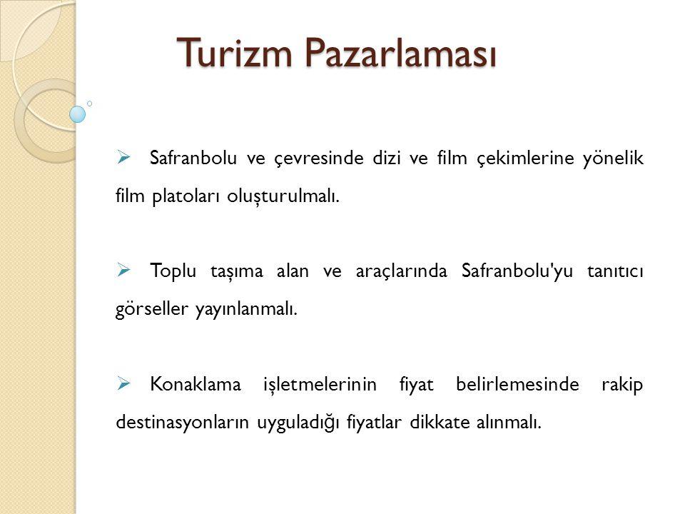 Turizm Pazarlaması Safranbolu ve çevresinde dizi ve film çekimlerine yönelik film platoları oluşturulmalı.