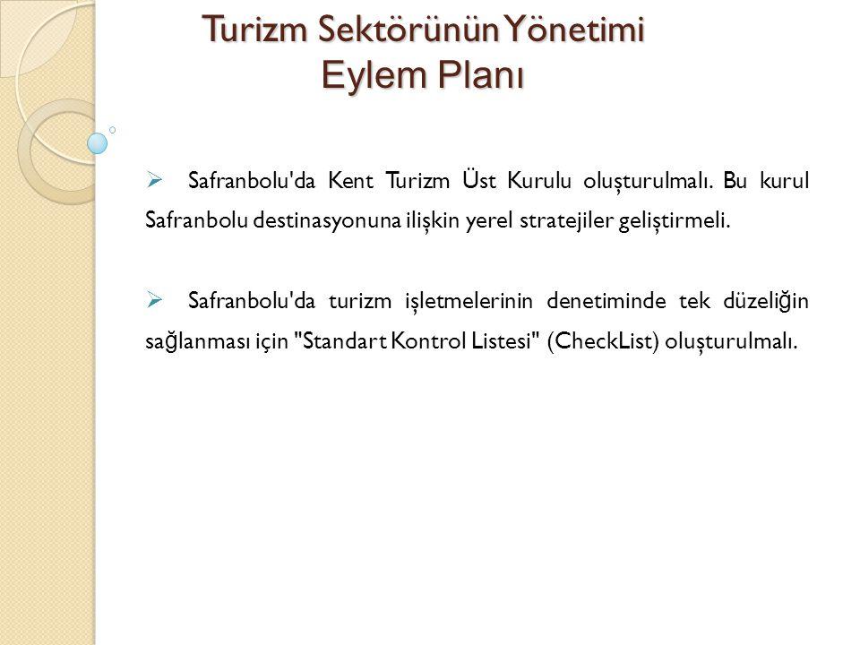 Turizm Sektörünün Yönetimi Eylem Planı