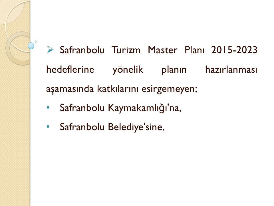 Safranbolu Turizm Master Planı 2015-2023 hedeflerine yönelik planın hazırlanması aşamasında katkılarını esirgemeyen;