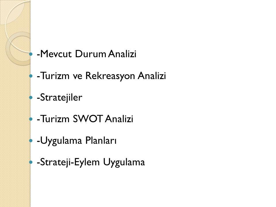 -Mevcut Durum Analizi -Turizm ve Rekreasyon Analizi. -Stratejiler. -Turizm SWOT Analizi. -Uygulama Planları.