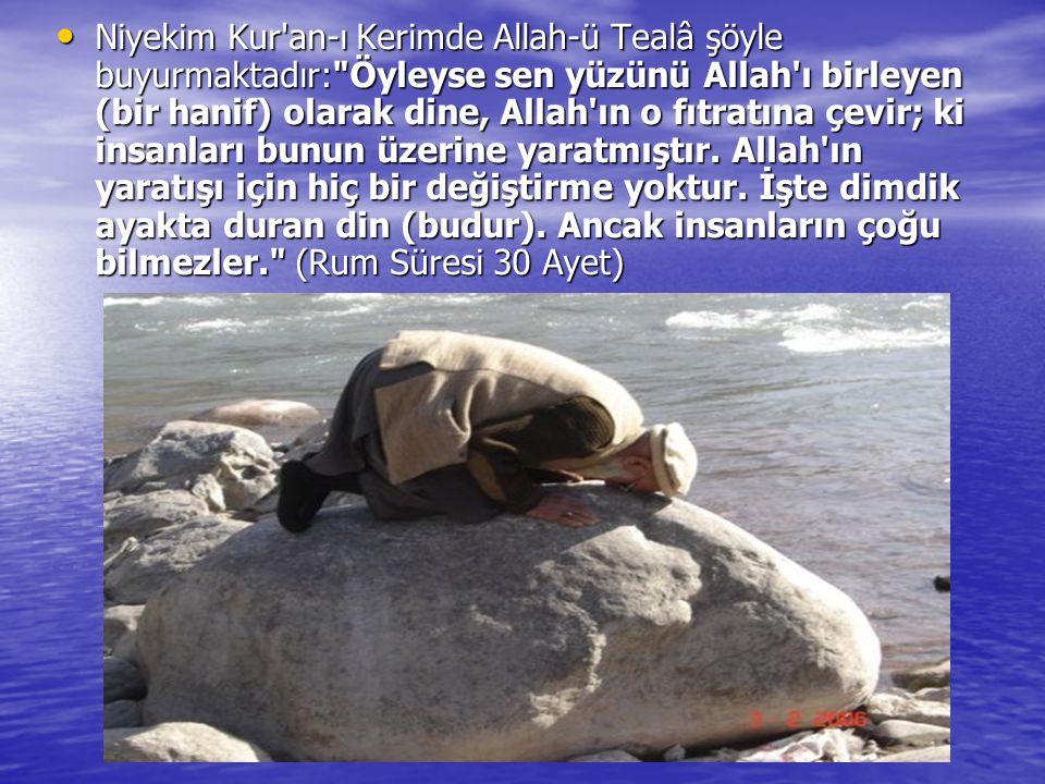 Niyekim Kur an-ı Kerimde Allah-ü Tealâ şöyle buyurmaktadır: Öyleyse sen yüzünü Allah ı birleyen (bir hanif) olarak dine, Allah ın o fıtratına çevir; ki insanları bunun üzerine yaratmıştır.