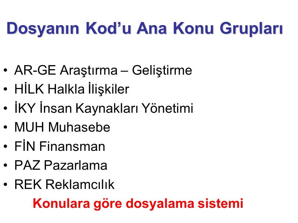 Dosyanın Kod'u Ana Konu Grupları