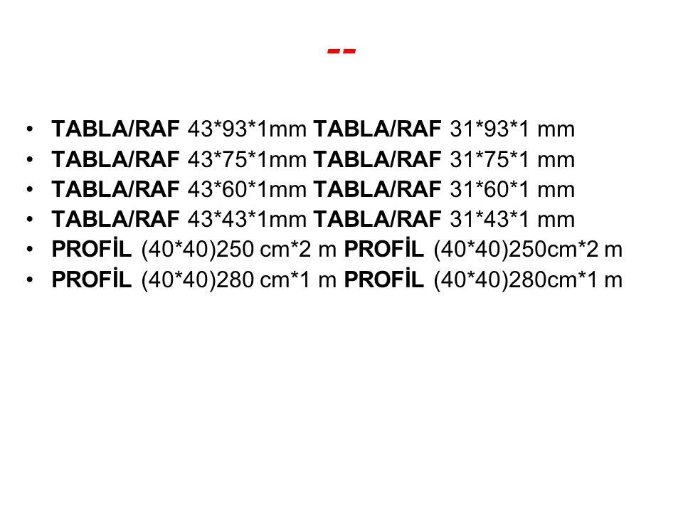 -- TABLA/RAF 43*93*1mm TABLA/RAF 31*93*1 mm