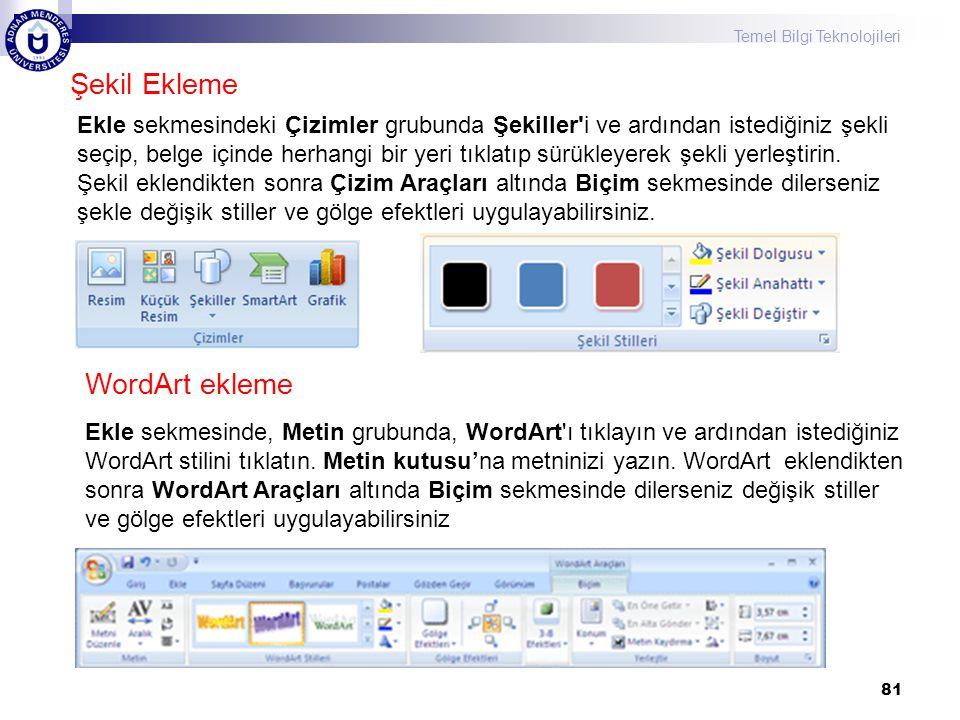 Şekil Ekleme WordArt ekleme