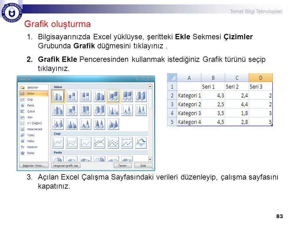 Grafik oluşturma Bilgisayarınızda Excel yüklüyse, şeritteki Ekle Sekmesi Çizimler Grubunda Grafik düğmesini tıklayınız .