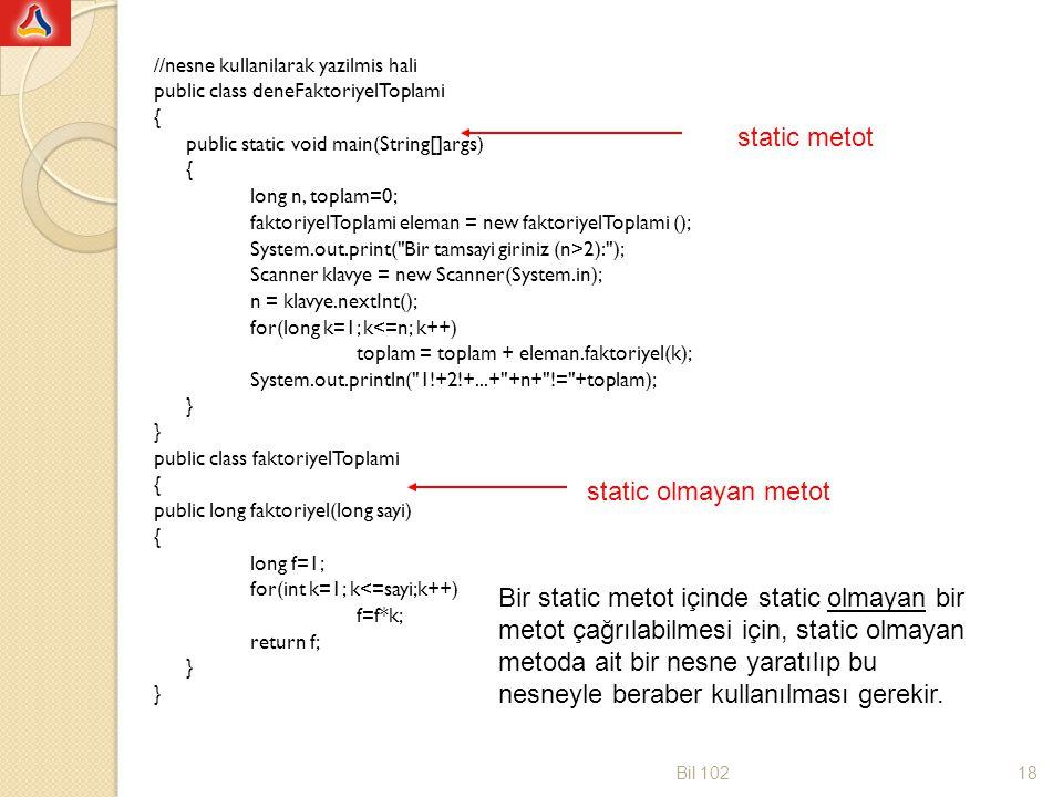 static metot static olmayan metot
