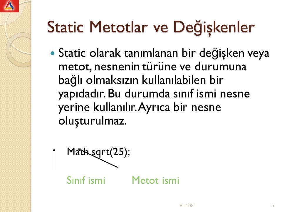 Static Metotlar ve Değişkenler