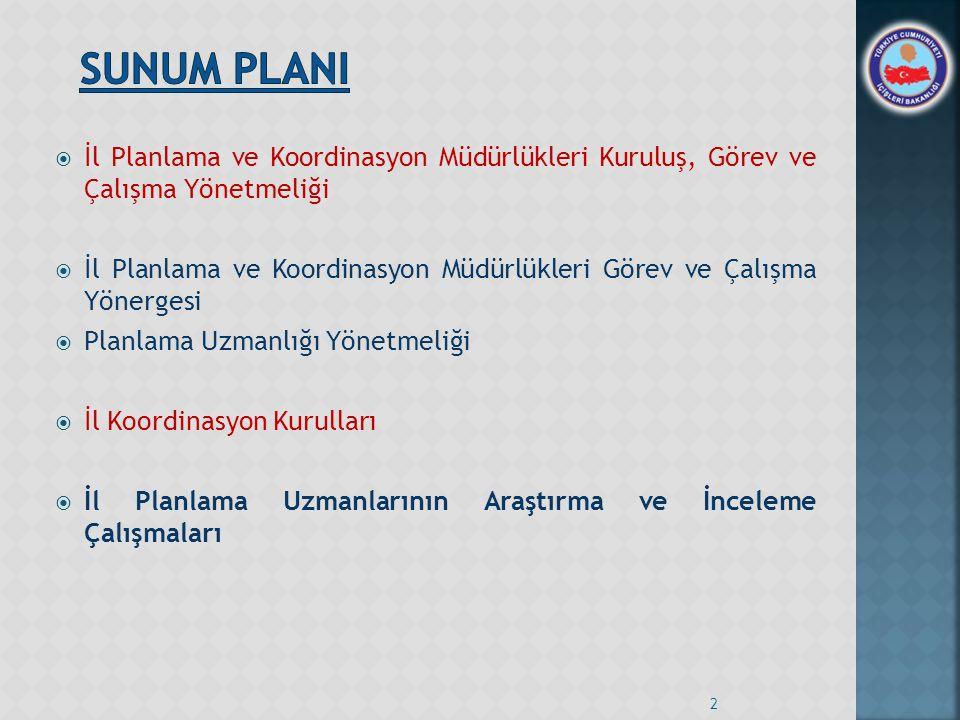 SUNUM PLANI İl Planlama ve Koordinasyon Müdürlükleri Kuruluş, Görev ve Çalışma Yönetmeliği.