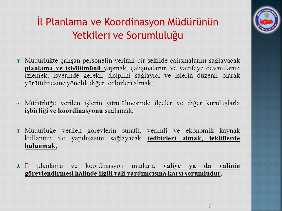 İl Planlama ve Koordinasyon Müdürünün Yetkileri ve Sorumluluğu