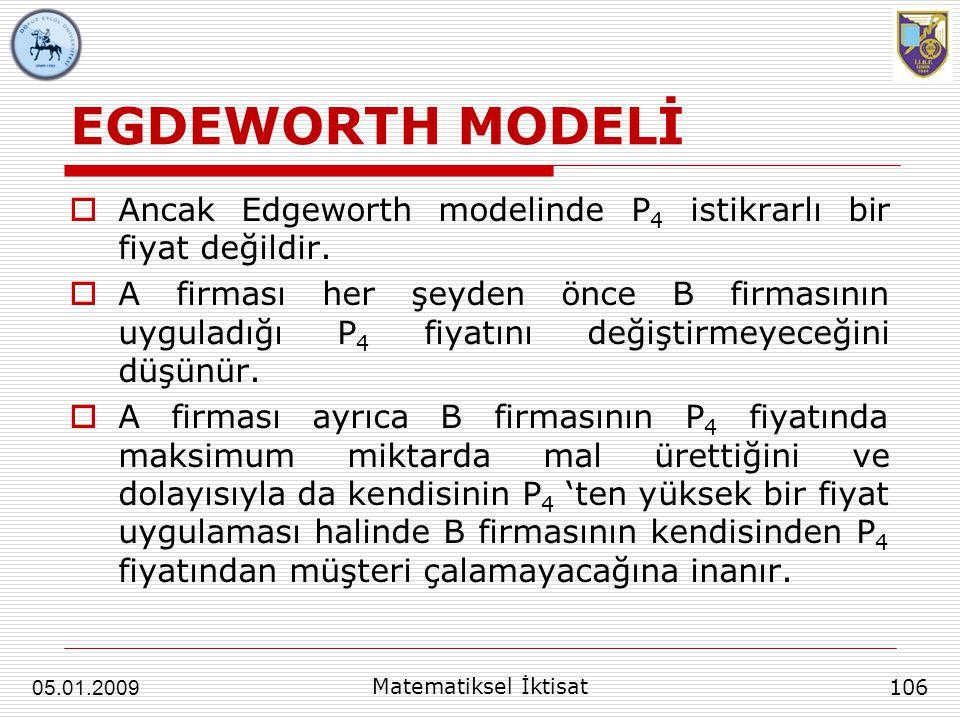 EGDEWORTH MODELİ Ancak Edgeworth modelinde P4 istikrarlı bir fiyat değildir.