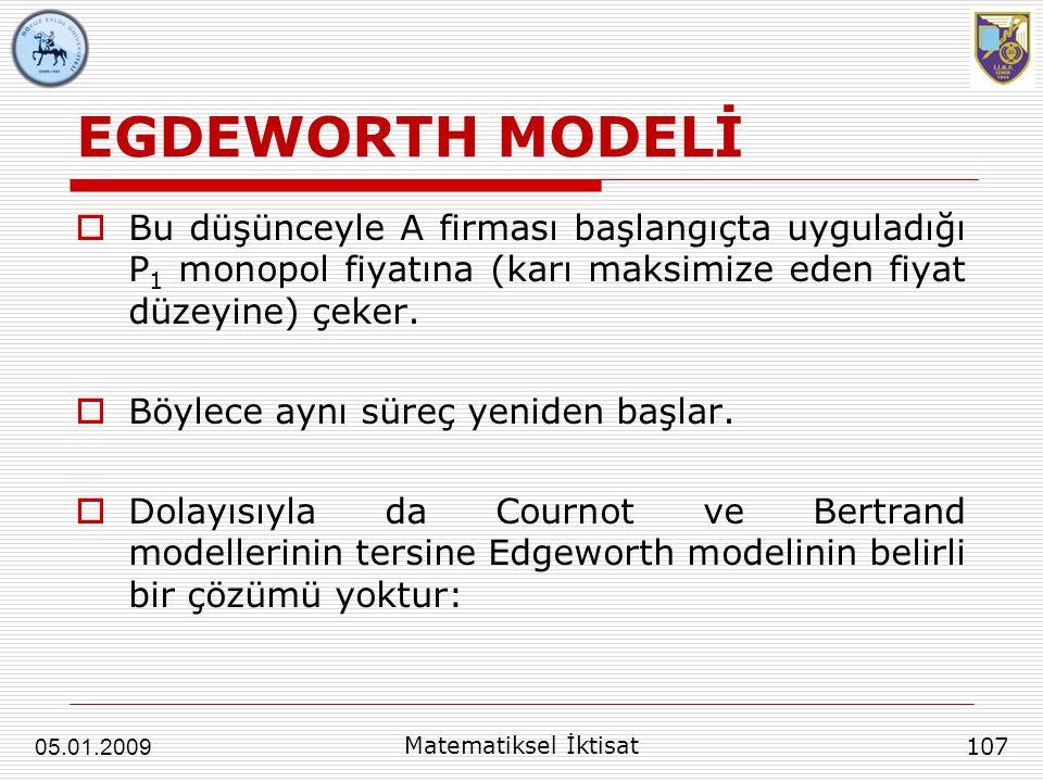 EGDEWORTH MODELİ Bu düşünceyle A firması başlangıçta uyguladığı P1 monopol fiyatına (karı maksimize eden fiyat düzeyine) çeker.
