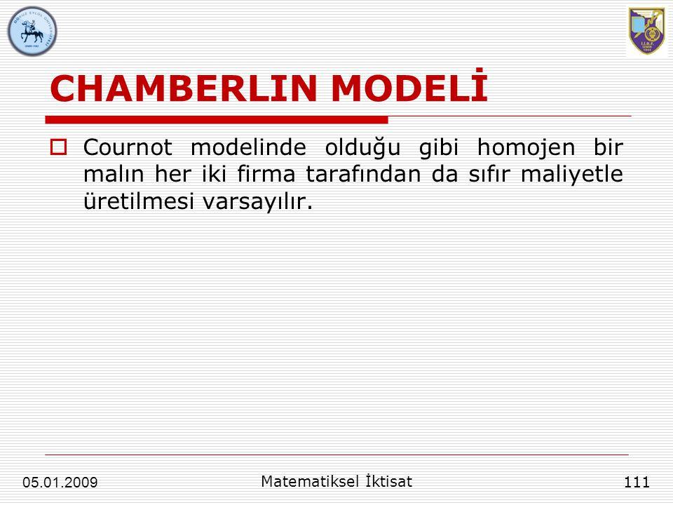 CHAMBERLIN MODELİ Cournot modelinde olduğu gibi homojen bir malın her iki firma tarafından da sıfır maliyetle üretilmesi varsayılır.