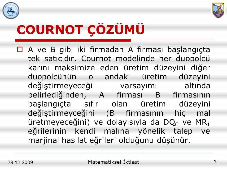 COURNOT ÇÖZÜMÜ