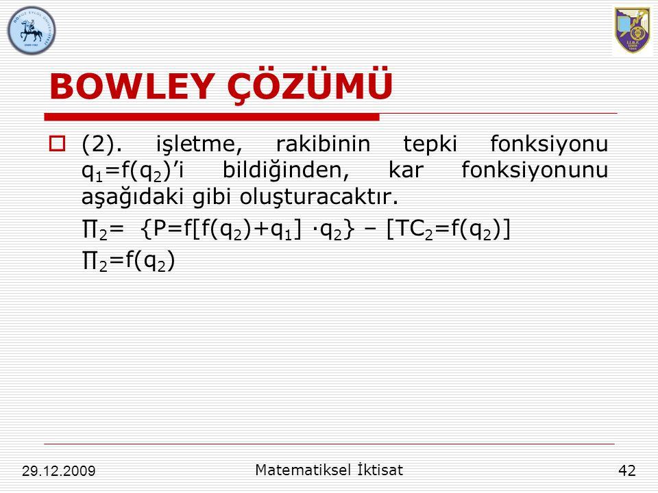 BOWLEY ÇÖZÜMÜ (2). işletme, rakibinin tepki fonksiyonu q1=f(q2)'i bildiğinden, kar fonksiyonunu aşağıdaki gibi oluşturacaktır.