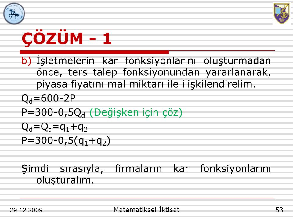 ÇÖZÜM - 1