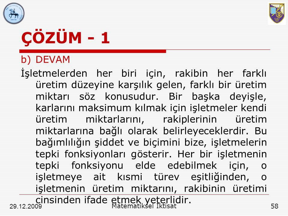 ÇÖZÜM - 1 DEVAM.