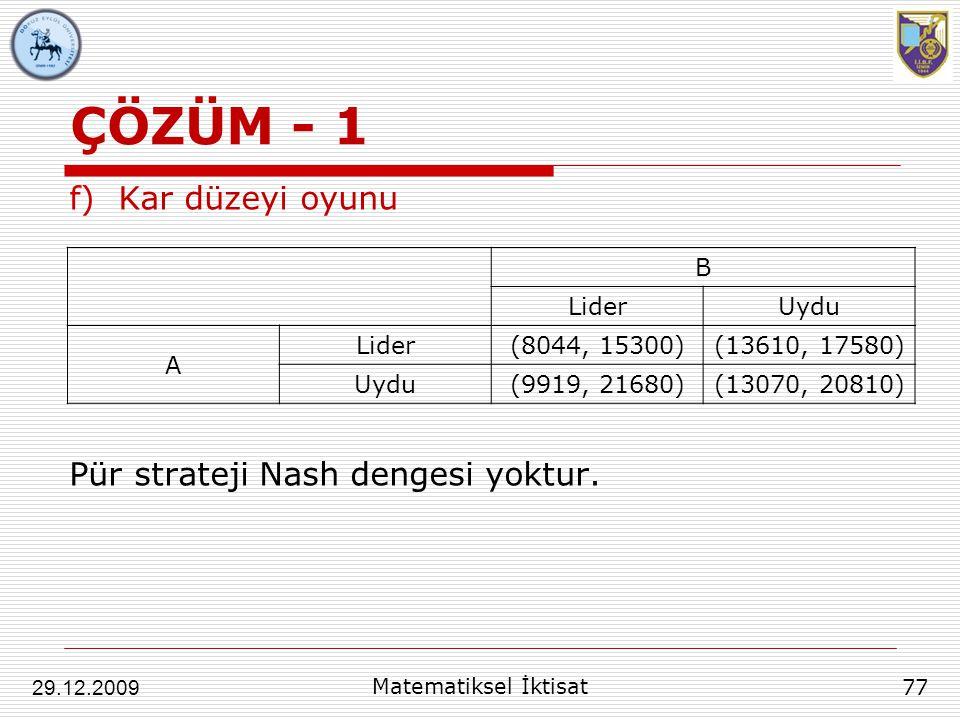 ÇÖZÜM - 1 Kar düzeyi oyunu Pür strateji Nash dengesi yoktur. B Lider