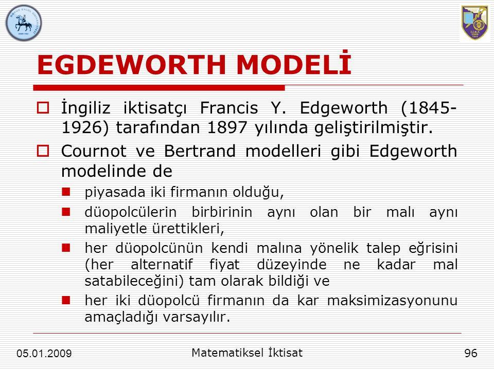 EGDEWORTH MODELİ İngiliz iktisatçı Francis Y. Edgeworth (1845-1926) tarafından 1897 yılında geliştirilmiştir.