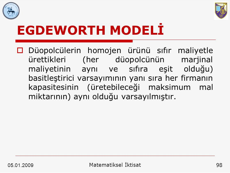 EGDEWORTH MODELİ