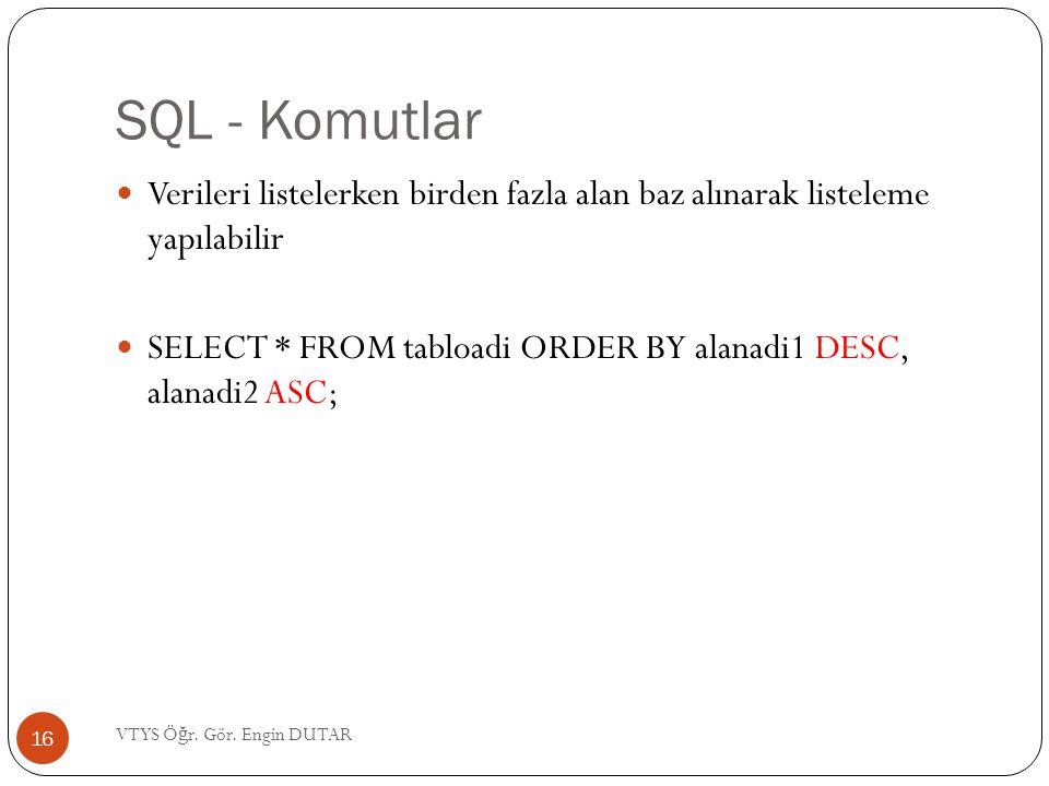 SQL - Komutlar Verileri listelerken birden fazla alan baz alınarak listeleme yapılabilir.
