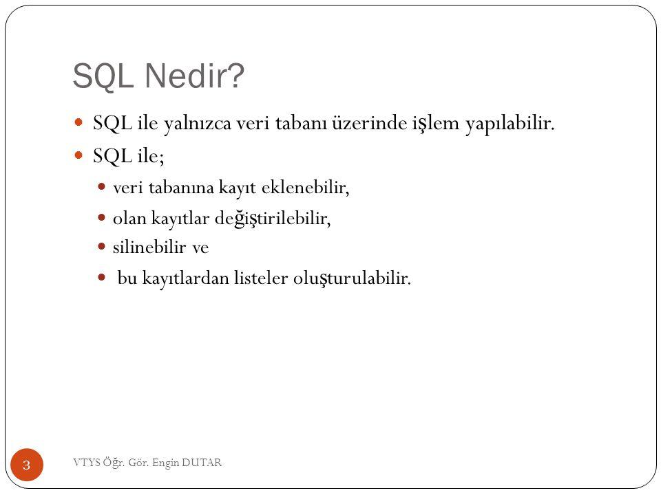 SQL Nedir SQL ile yalnızca veri tabanı üzerinde işlem yapılabilir.