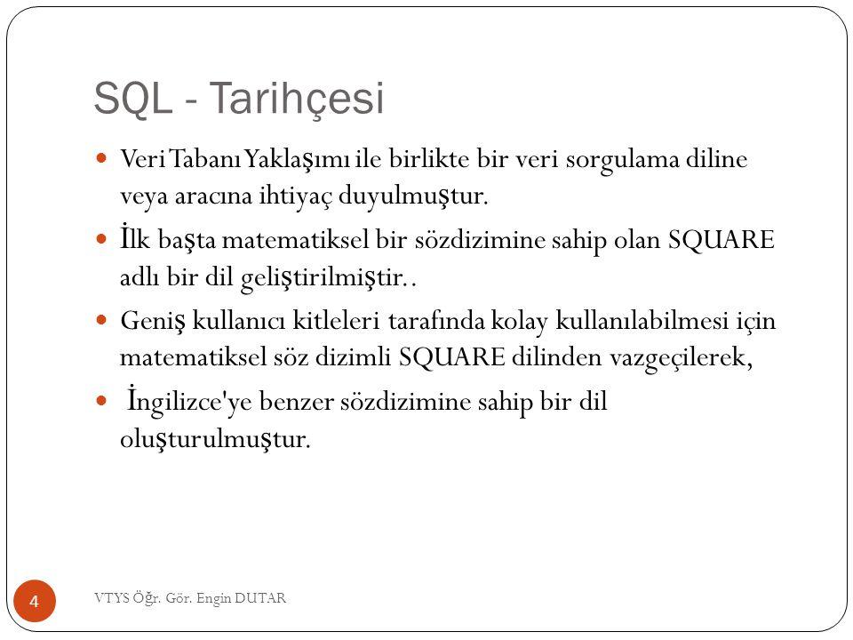SQL - Tarihçesi Veri Tabanı Yaklaşımı ile birlikte bir veri sorgulama diline veya aracına ihtiyaç duyulmuştur.