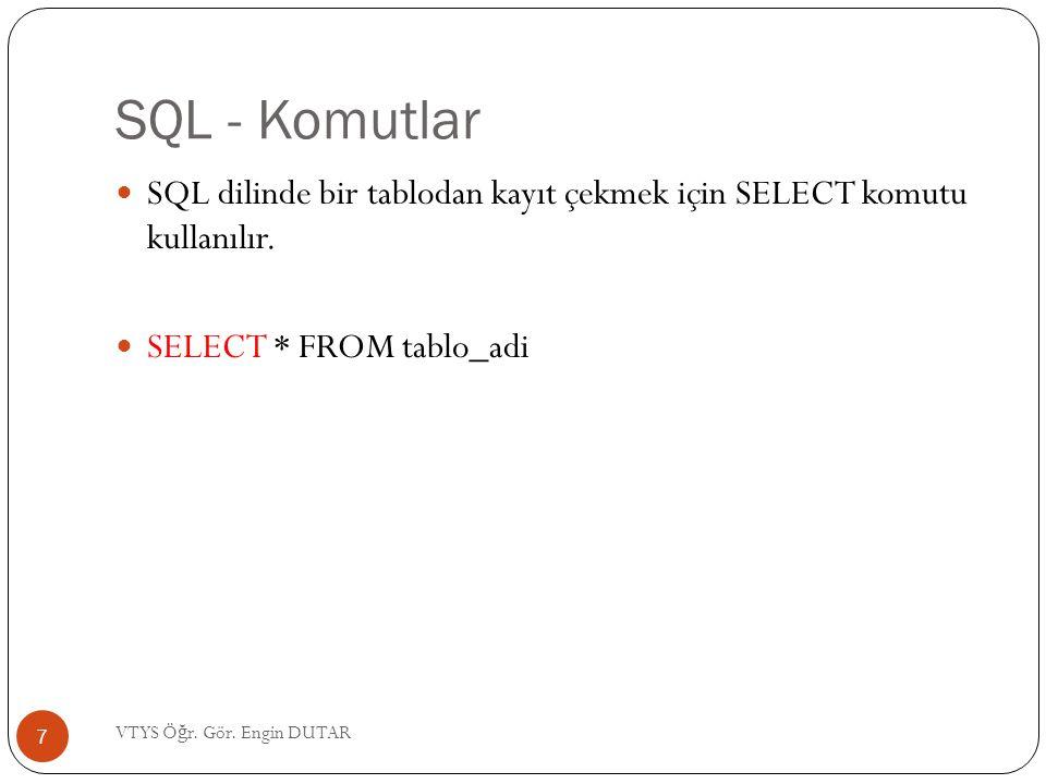 SQL - Komutlar SQL dilinde bir tablodan kayıt çekmek için SELECT komutu kullanılır. SELECT * FROM tablo_adi.
