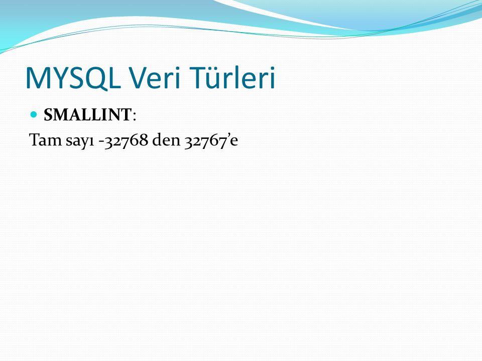 MYSQL Veri Türleri SMALLINT: Tam sayı -32768 den 32767'e